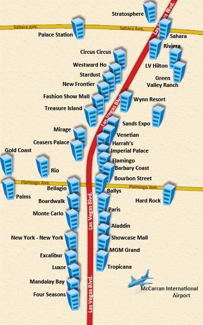 Las vegas south strip hotels map