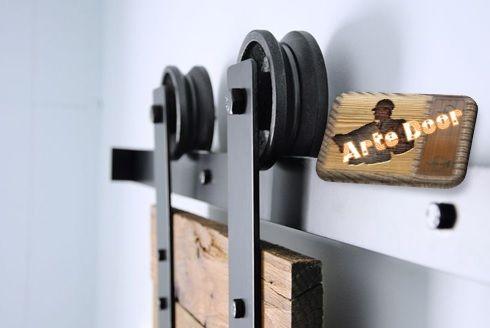 Kit de herraje para puertas correderas r stico en negro o - Herrajes rusticos para puertas ...