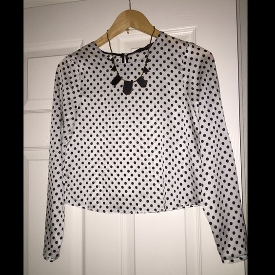 ZARA Polka Dots Blouse Been worn only 1 time for few hrs , in perfectly NEW condition , 100% polyester , from free pet and smoke environment Zara Tops Blouses