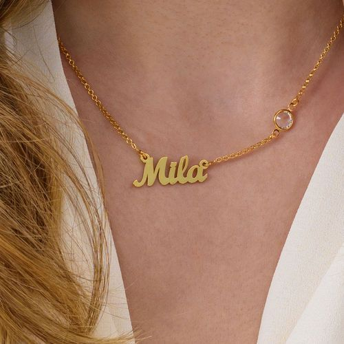 Name Necklace In Gold Plating With One Swarovski Stone Diamond Initial Necklace Gold Letter Necklace Silver Chain Necklace