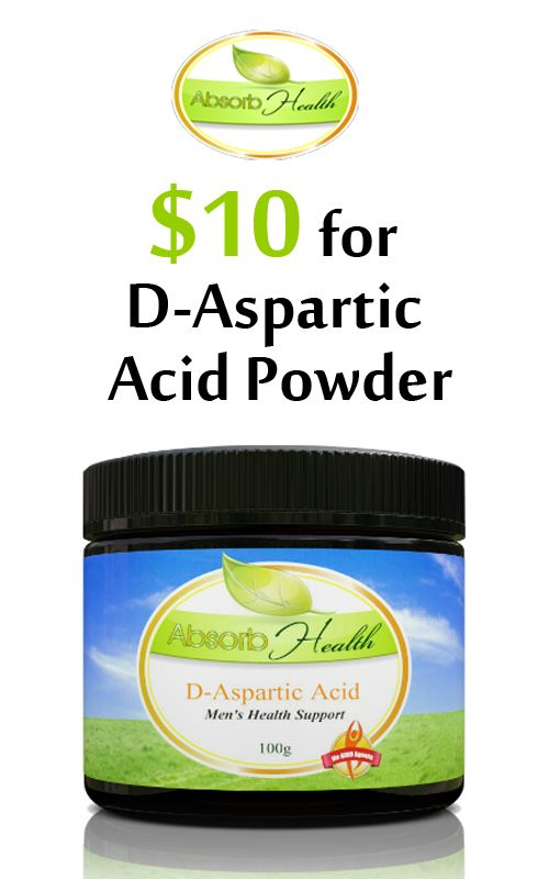 Buy D-Aspartic Acid Powder just for $10 with fast shipping and money back guarantee only at AbsorbYourHealth.com. This offer is currently activated on the site. For more #Absorb Health Coupon Codes visit: http://www.couponcutcode.com/coupons/d-aspartic-acid-powder-for-10/