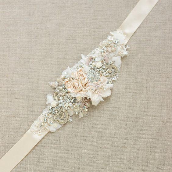 chagne belt sash floral belt sash lace belt sash