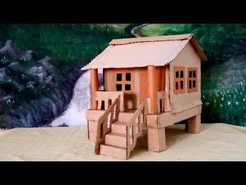 صنع اشياء بالورق كيف تصنع بيت من الكرتون بشكل جميل وسهل House Styles Bird House Outdoor Decor