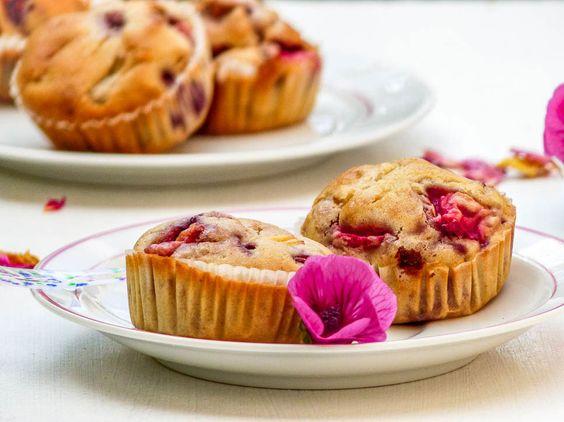 Muffins rhubarbe fraises vegan