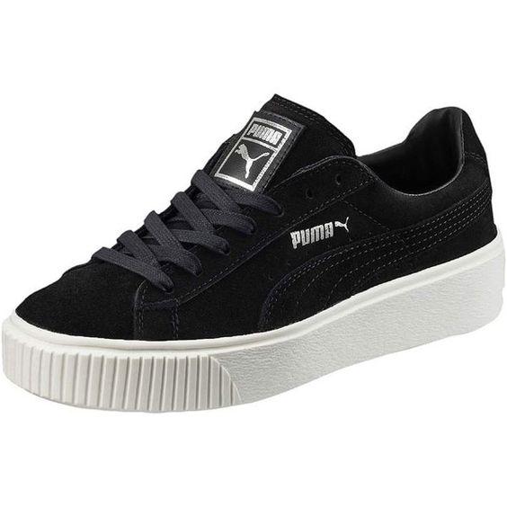 black womens puma suede platform athletic shoe
