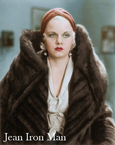 Jean Harlow in SABLE FUR, colorization by Victor Mascaro