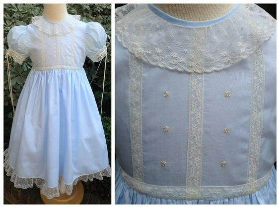 Yoke Dress in Blue Bearissima with Ivory Lace and Hand-Embroidery Details. McCall Wilder Couture for Children.