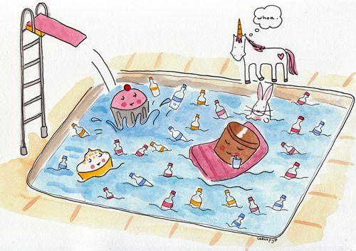 Drunken Cupcakes in a Pool