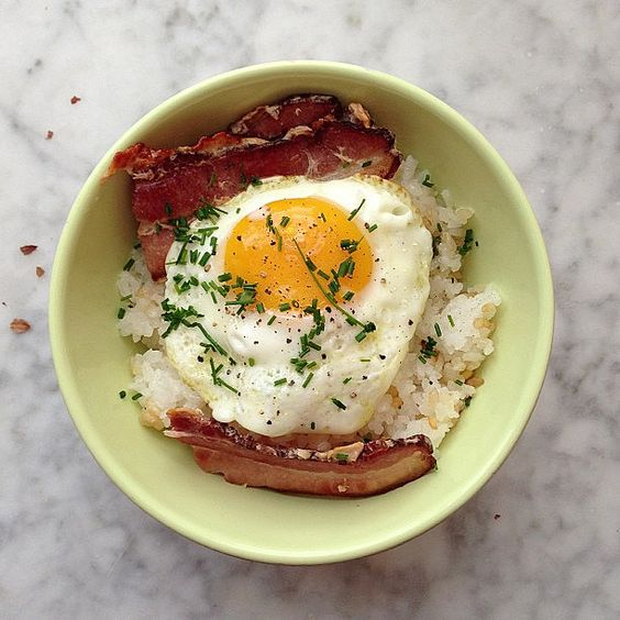 Bacon Egg and Rice Breakfast Bowl — For the Love of Food — Medium