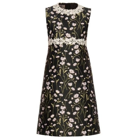 Giambattista Valli Daisies-embroidered sleeveless twill dress (22.168.595 IDR) ❤ liked on Polyvore featuring dresses, black pink, black embroidered dress, black fringe dress, black floral dress, sleeveless dress and shift dress
