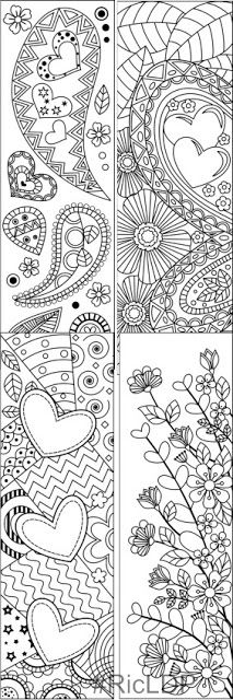 Valentines Coloring Bookmarks set 1  Coloring Pages  Pinterest