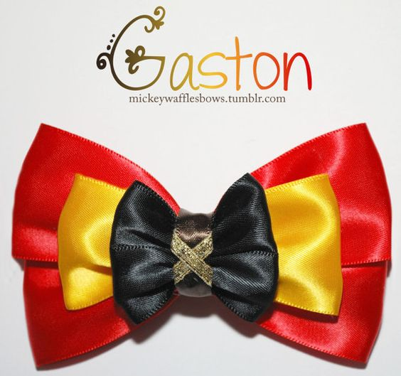 A medium (4 inches) hair bow inspired by the Disney villian Gaston from Beauty and the Beast. This accessory is made from quality fabric ribbon.