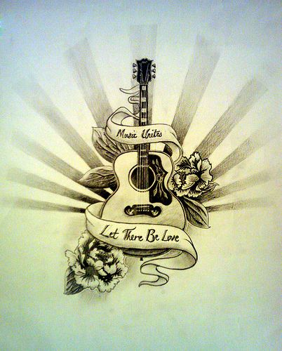 Acoustic And Electric Designs: Guitar Tattoo