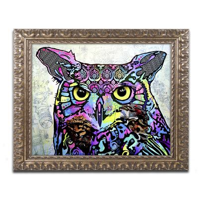 Trademark Art 'The Owl' by Dean Russo Framed Graphic Art Size: 1