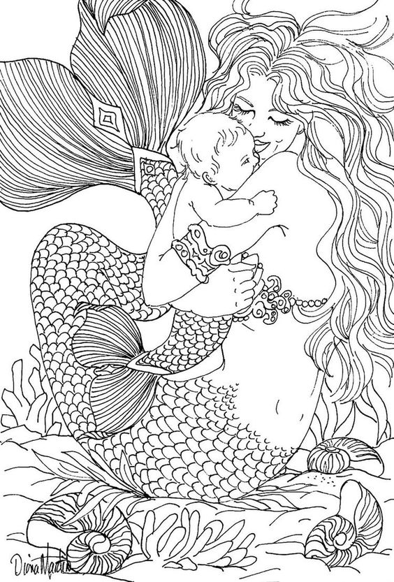 Free Coloring Page Adult Mermaid And Child Drawing By Diana Martin