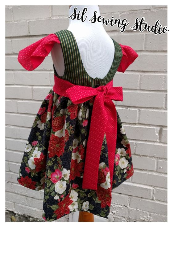 Girls Christmas dress Poinsettias with sash. Holiday dress flutter sleeves Christmas dress Poinsettias Holiday dress Size 3T ready to ship by SilSewingStudio on Etsy