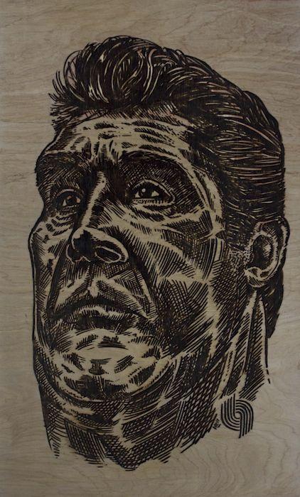 Sabonis: Ink And Laser Cut On Wood Board By Hingyi Khong By Hingyi Khong