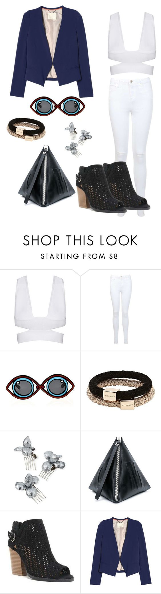"""""""Sem título #2244"""" by mariana-mester-vianna ❤ liked on Polyvore featuring Miss Selfridge, Linda Farrow, Witchery, Gigi Burris Millinery, McQ by Alexander McQueen and Qupid"""