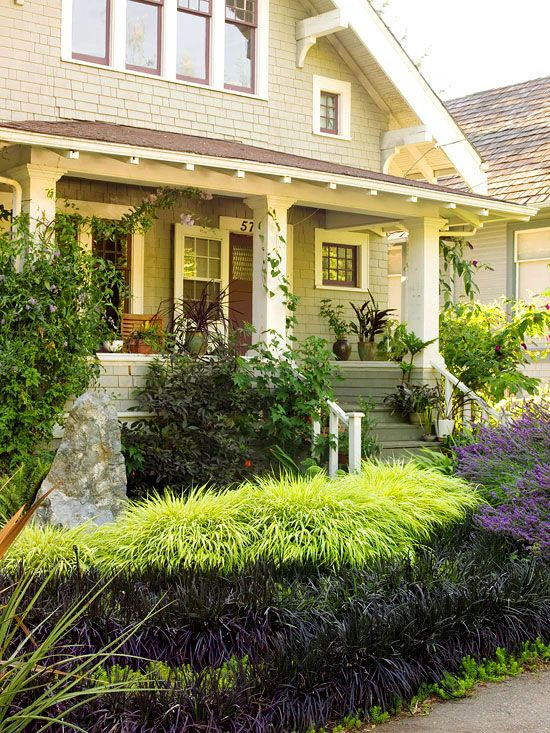 Make a better first impression front porches front for Front porch landscaping plants