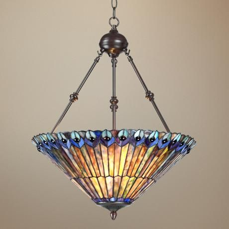 peacock glass 3 light 20 wide tiffany style pendant light chandeliers. Black Bedroom Furniture Sets. Home Design Ideas