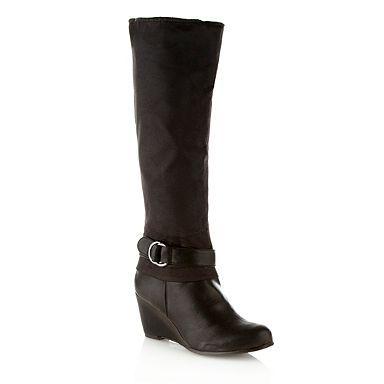 Black 'Kruchten' wedge knee high boots - Mid heel boots - Shoes & boots - Women -