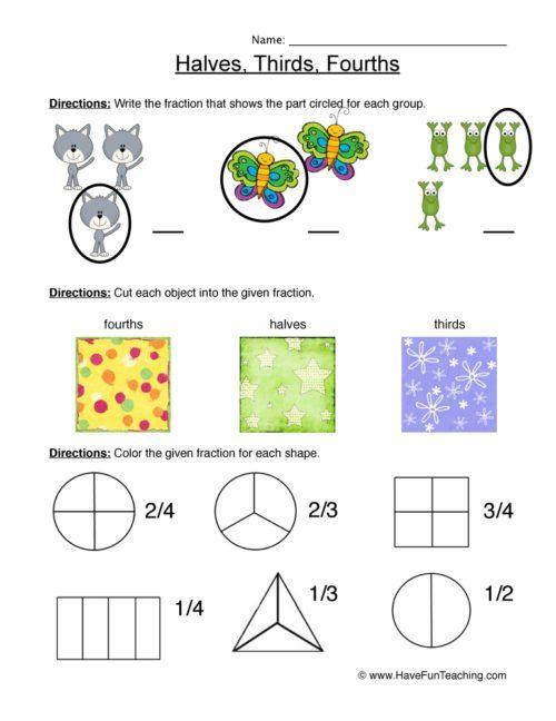 First Grade Fractions Worksheets First Grade Fractions Worksheets Have Fun In 2020 Fractions Worksheets 4th Grade Multiplication Worksheets Math Fractions Worksheets