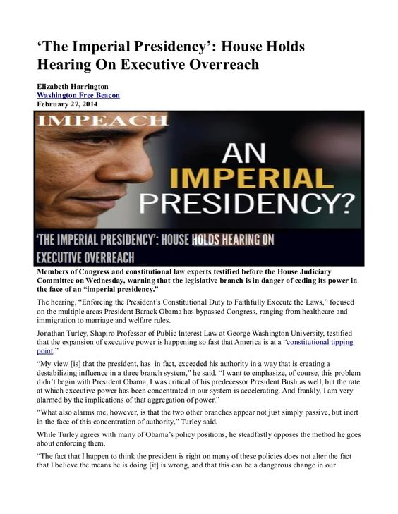 #'The Imperial Presidency': House Holds Hearing On Executive Overreach   INFOWARS.COM  BECAUSE THERE'S A WAR ON FOR YOUR MIND