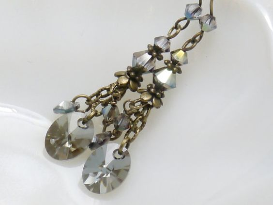 Dangle Earrings  Swarovski Iridescent Green  by judysmithdesigns, $19.50