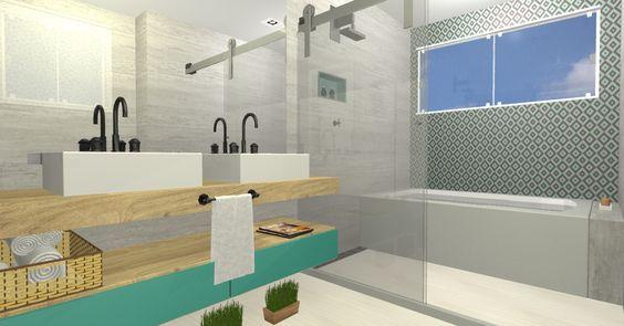 Banheiro Casal com revestimento na parede da Portobello (Cobogó Turquesa, Vila Madá). #portobello #cobogó #banheiro #estilo #interiordesign