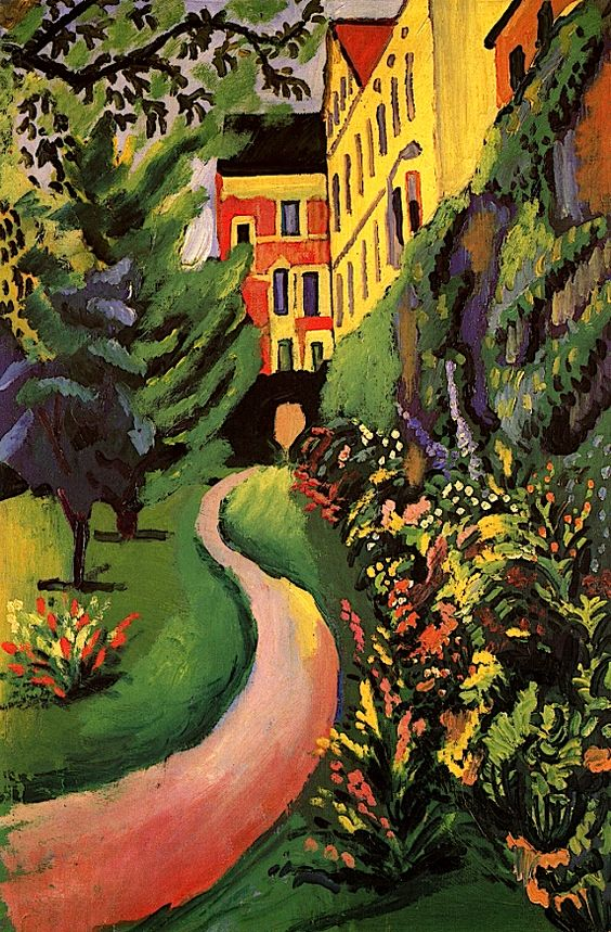August Macke ~ Our garden with flower beds in bloom, 1911