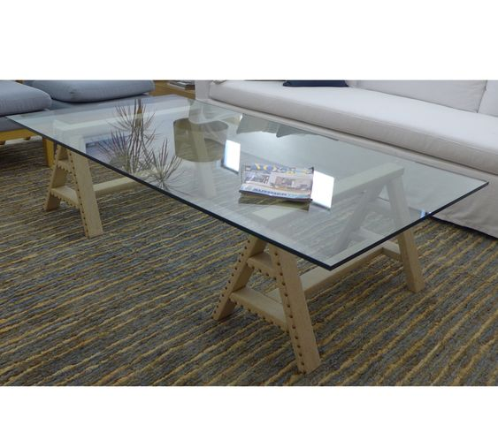 Marabierto mesa de living tonto con caballetes tapizados - Mesa con caballetes ...