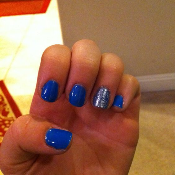 Blue Nail Polish One Finger: Harmony Gelish Color: Ooba Ooba Blue (Rio Collection) And