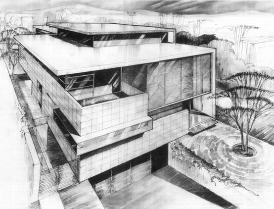 Architectural Drawings Of Modern Houses sketch modern residence with unconventional interior connection