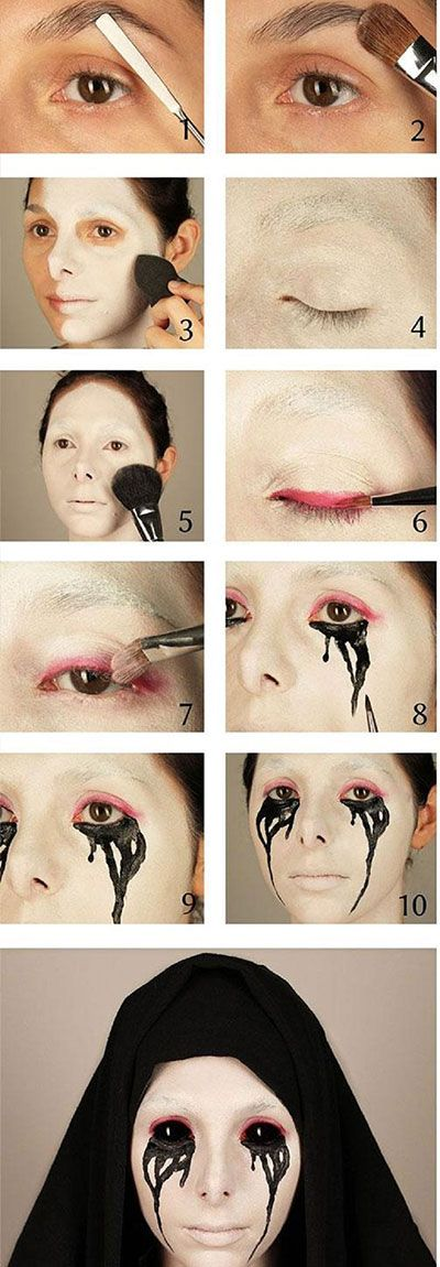 crying-nun-halloween-makeup-hacks-how-to: