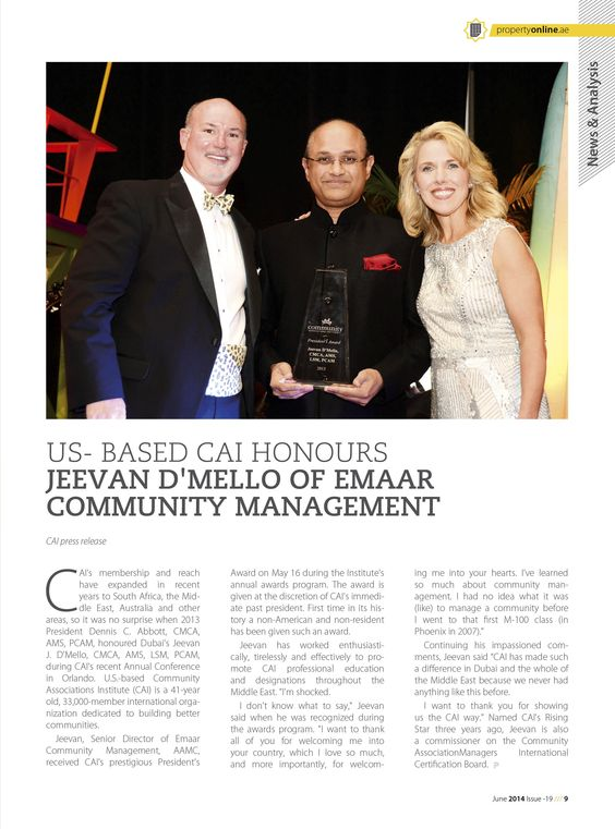 US- BASED CAI HONOURS JEEVAN D'MELLO OF EMAAR COMMUNITY MANAGEMENT