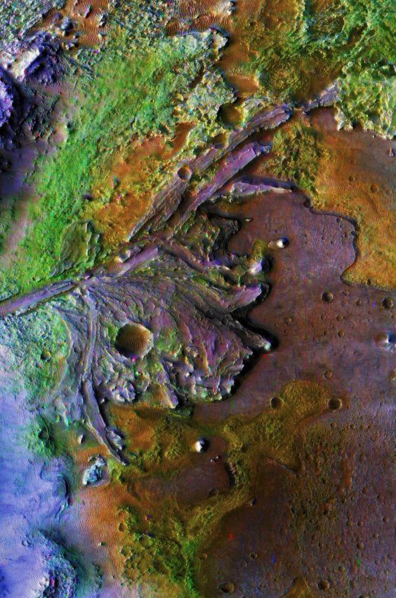 Os restos de um rio delta (designa-se por delta a foz de um rio formada por vários canais ou braços do leito do rio) em Marte.
