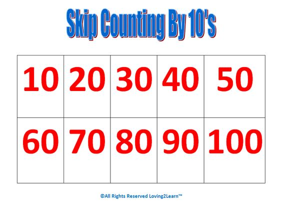 "Skip count | Print off the ""Skip Counting by 10's"" chart and start ..."