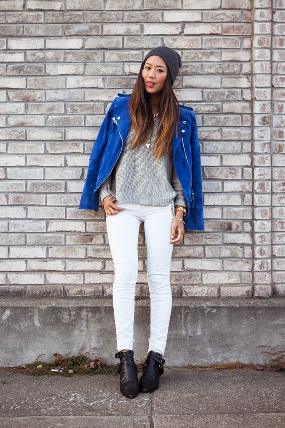 Mango Blue Suede Moto Jacket, H Metallic Sweater Zara White Jeans ...