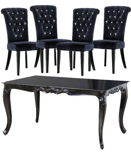 High Gloss French Style Black Dining Table And 4 Chair Set Dessert Parlor I