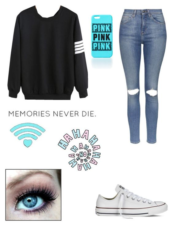 """""""Memories never die #ootd"""" by jellybeans05 ❤ liked on Polyvore featuring beleza, Topshop e Converse"""