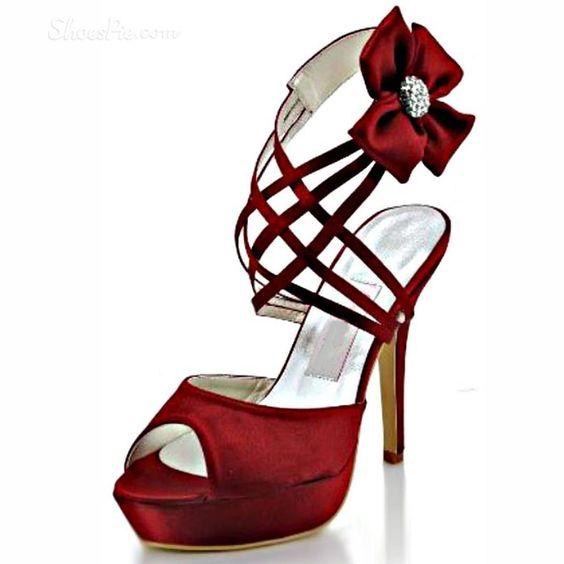 Shoespie Red Srappy Enrole Tornozelo sandálias plataforma