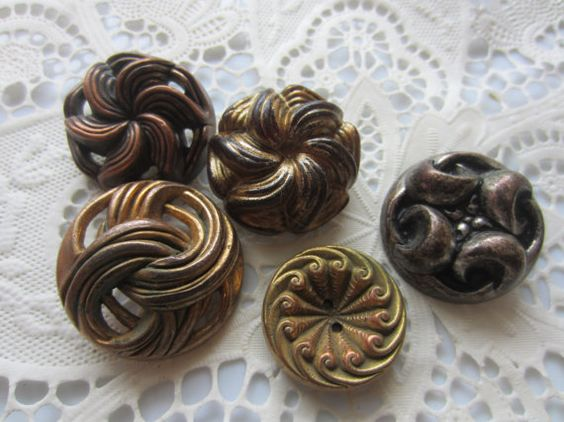Vintage Buttons  lot of 5 romantic metalized by pillowtalkswf, $8.95