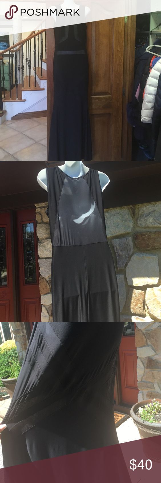 Black maxi mesh dress NEW WITH TAGS!! Super sexy maxi with black mesh cut outs!! Dresses Maxi