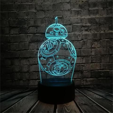 Bb 8 Star Wars Robot Figure 3d Led Lamp Shoppygems Ledlamp 3d Led Lamp Lamp Led Lamp