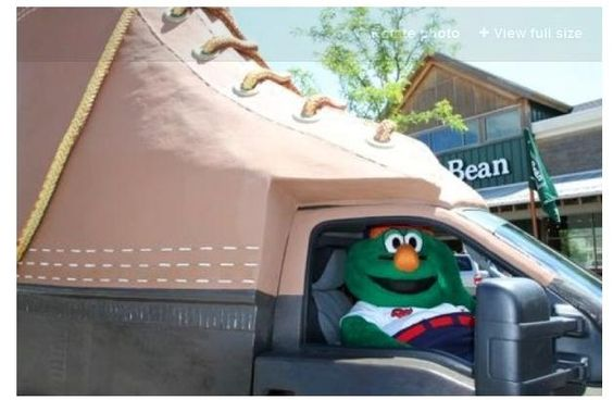 Wally trys to drive the L.L.Bean Bootmobile
