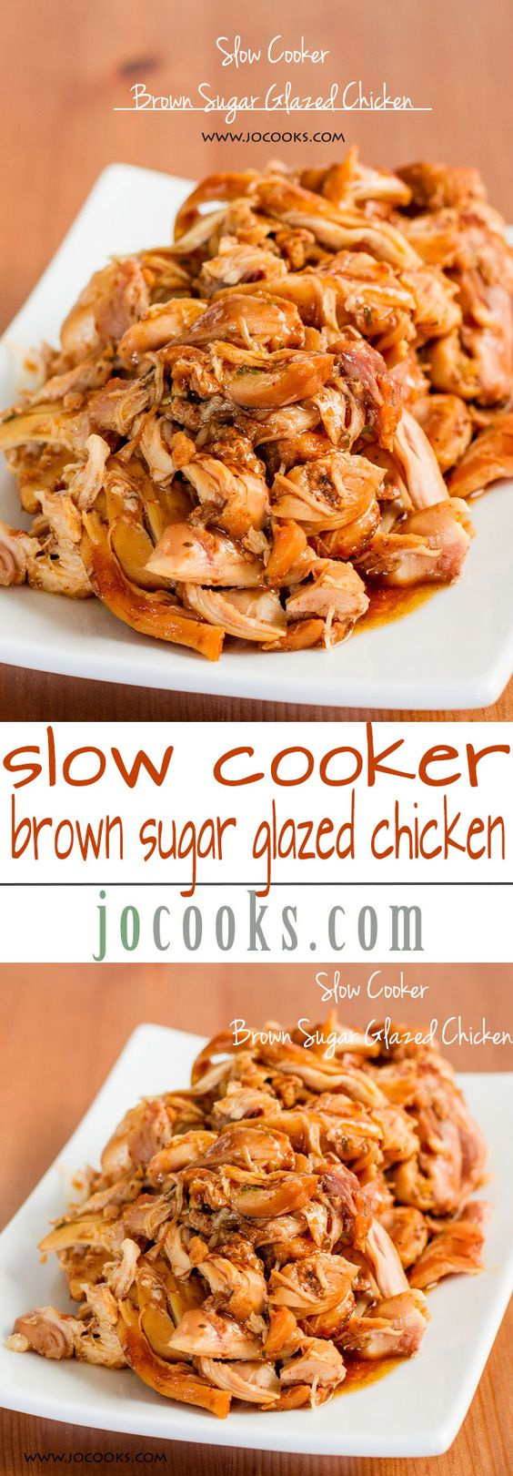 Slow Cooker Brown Sugar Glazed Pulled Chicken – this is probably the most tender and delicious chicken I'll ever have.