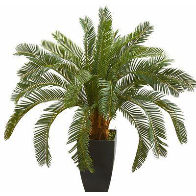 Bay Isle Home Artificial Cycas Foliage Plant In Planter Artificial Plants Plants Floor Plants