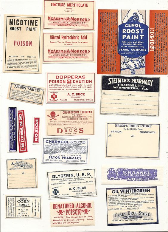 19 1920s plus Drugstore,Pharmacy ,Poison and Medicine Labels etc