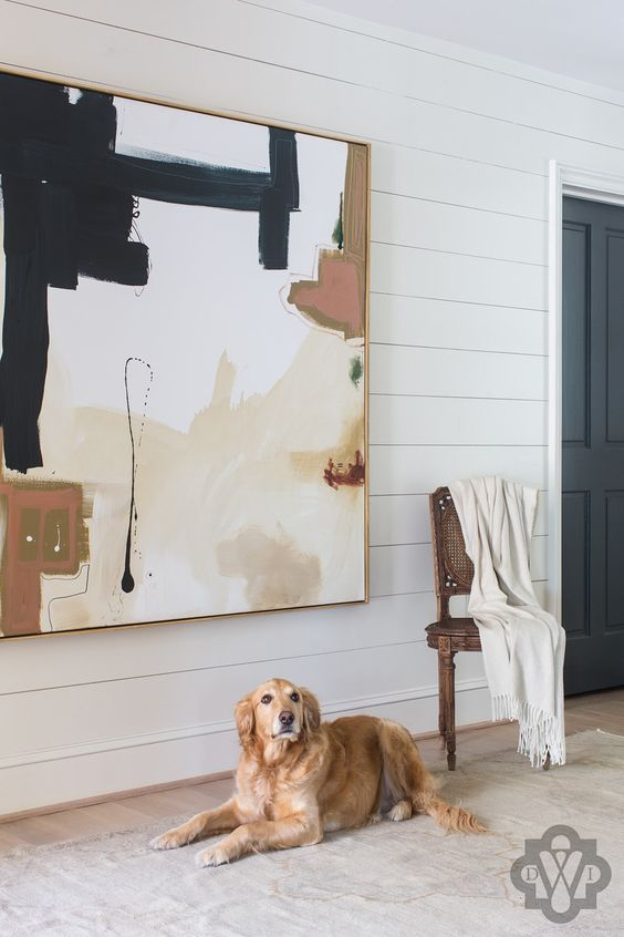 Shiplap panels in the entryway are so cool an casual with an edge Design by Dana Wolter Interiors