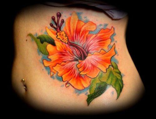 Realistic Hibiscus Tattoo...
